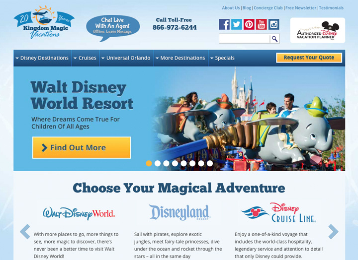 Kingdom Magic Travel Website